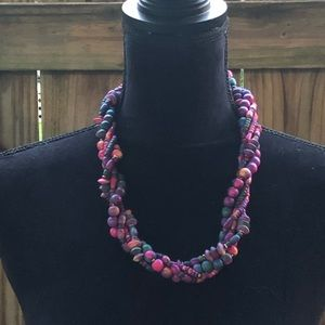 Jewelry - Vintage Colorful 80s Wood Bead Twisted Necklace